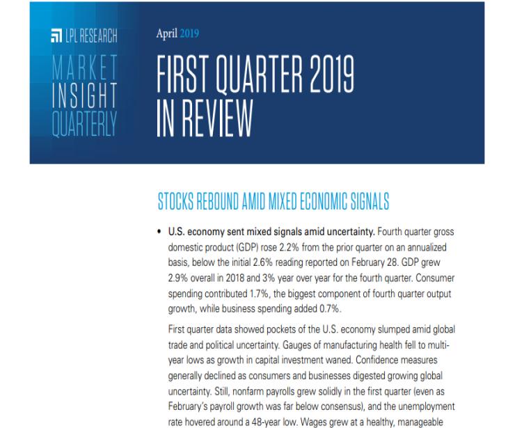 Market Insight Quarterly   First Quarter 2019