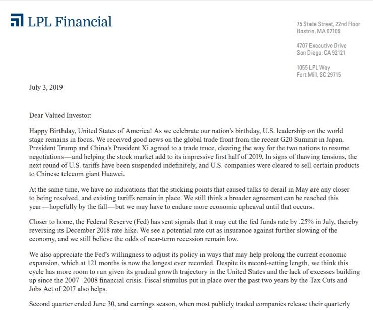 Longest Economic Expansion Ever | Client Letter | July 3, 2019