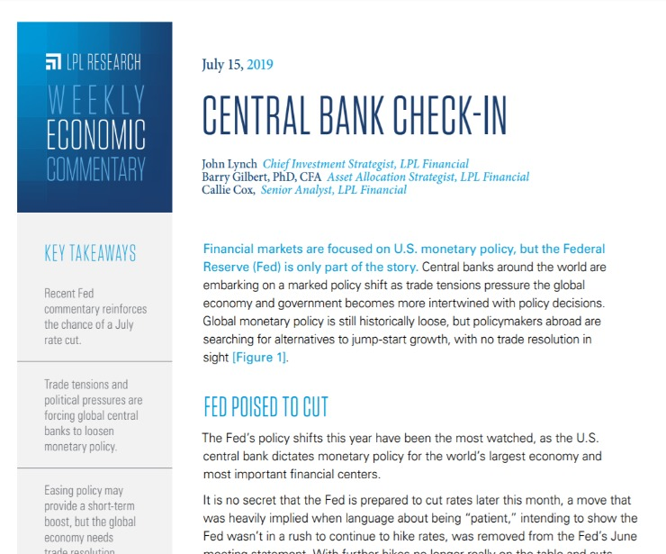 Central Bank Check-In | Weekly Economic Commentary | July 15, 2019