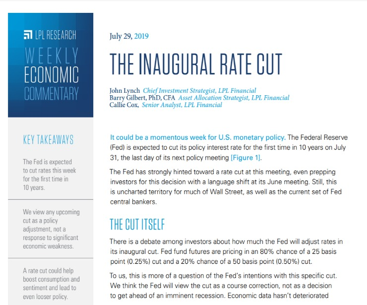 The Inaugural Rate Cut | Weekly Economic Commentary | July 29, 2019