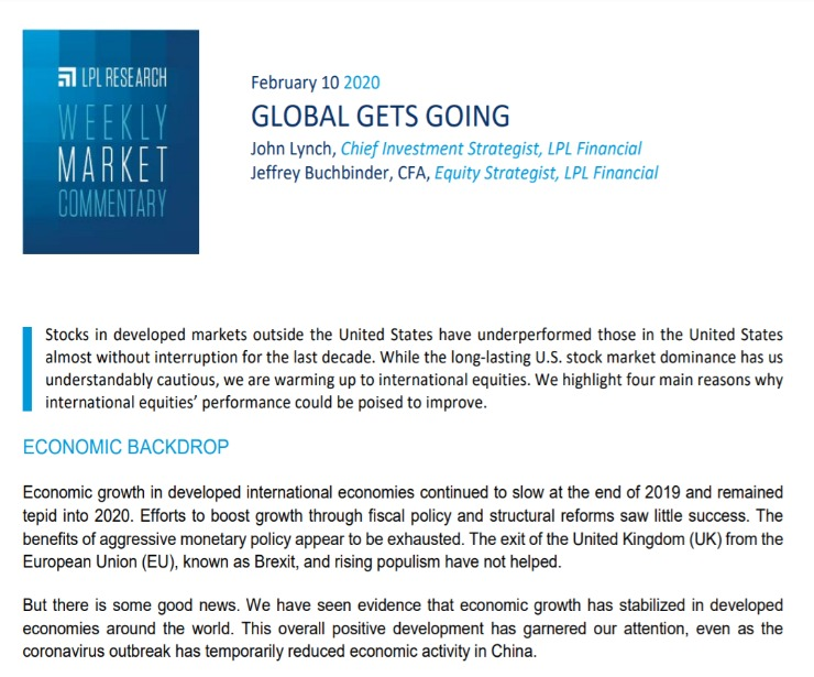 Global Gets Going   Weekly Market Commentary   February 10, 2020