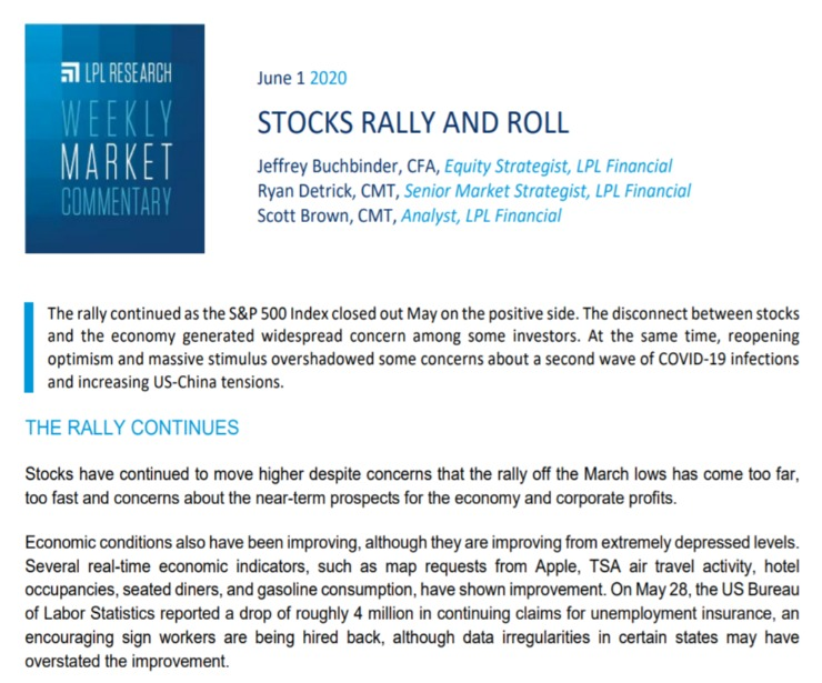Stocks Rally and Roll | Weekly Market Commentary | June 1, 2020