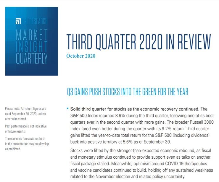 Market Insight Quarterly  Third Quarter 2020   October 21, 2020