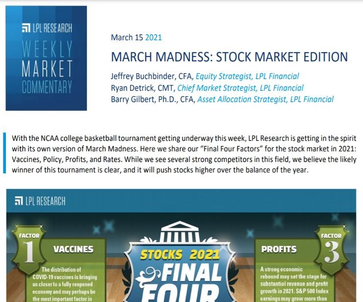 March Madness: Stock Market Edition | Weekly Market Commentary | March 15, 2021