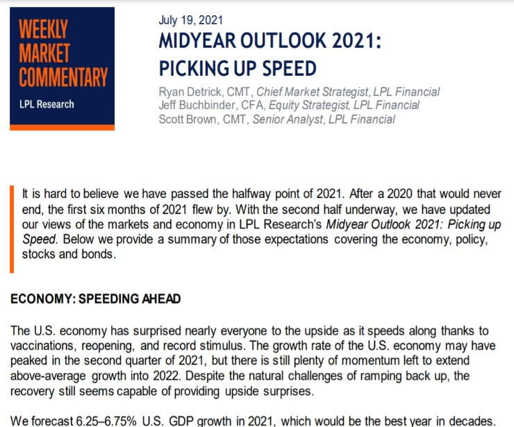 Midyear Outlook 2021: Picking Up Speed | Weekly Market Commentary | July 19, 2021